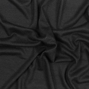 Black Knit Wool Twill
