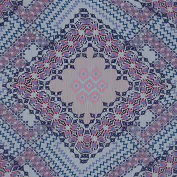 Purple, Florescent Pink and White Printed Crinkled Chiffon