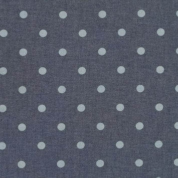 Denim Blue Polka Dotted Cotton Chambray