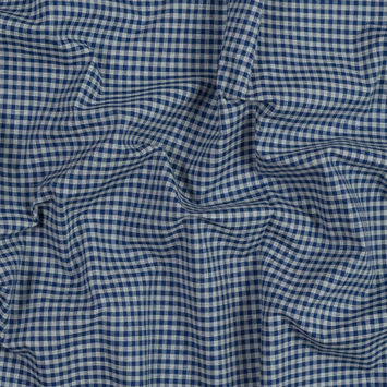 Blue and Gray Gingham Cotton Lawn