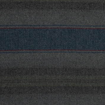 Blue, Green and Gray Barcode Striped Wool Woven
