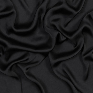 Black Polyester Satin-Faced Georgette
