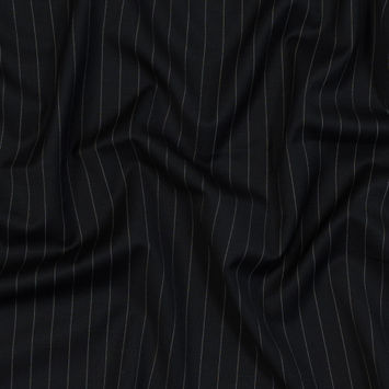 Black and White Pinstriped Super 150 Wool Suiting