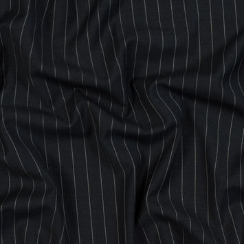 Charcoal and White Pinstriped Super 150 Wool Suiting