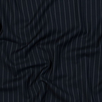 Dark Navy and White Pinstriped Super 150 Wool Suiting