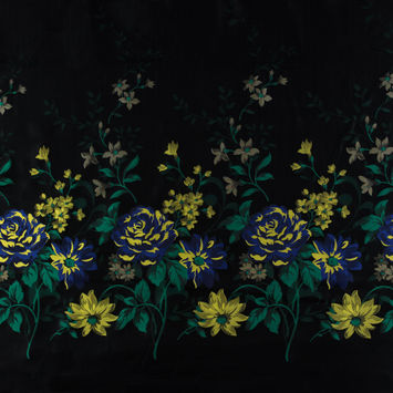 Blue, Yellow and Black Floral Embroidered Ripstop Jacquard