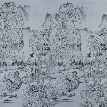 Silver and Black Landscape Jacquard Panel