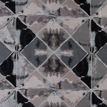 Pink, Silver and Black Abstract Diamond Brocade