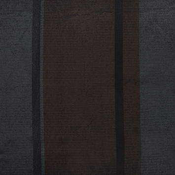Black and Chocolate Coated Woven Wool Blend with Metallic Stripes