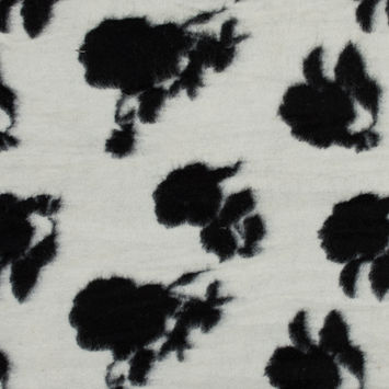 Off-White and Black Floral Brushed Wool Knit