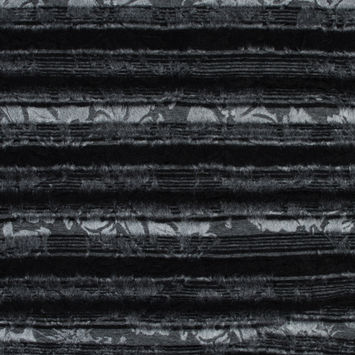 Black Striped Wool Knit and Black Solid Organza Bonded with Floral Design