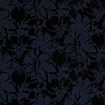 Bonded Navy Wool Knit and Black Velour with Flocked Floral Design