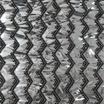 Black and Silver Chevron Fringe Sequin Fabric