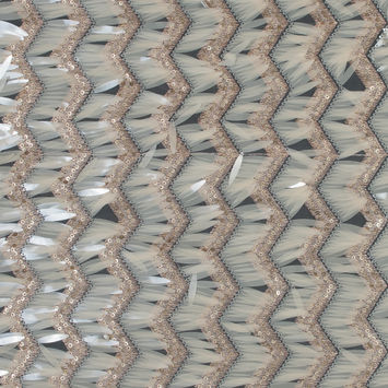 Rose Gold and Beige Chevron Fringe Sequin Fabric