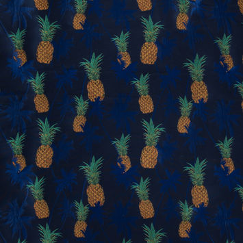 Royal Blue Pineapple Polyester Jacquard