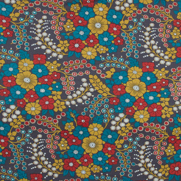 Red, Blue and Yellow Floral Silk and Rayon Jersey