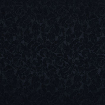 Midnight Blue Floral Silk and Cotton Jacquard