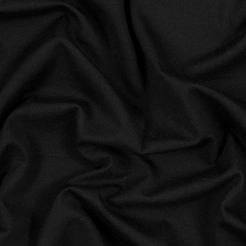 Black Wool 1x1 Rib Knit with Sleek Jersey Backing