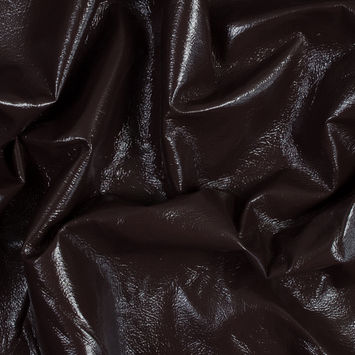 Famous NYC Designer Chocolate Faux Patent Leather with Gray Fleece Backing