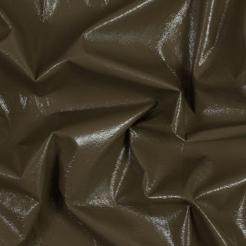 Famous NYC Designer Light Brown Faux Patent Leather with Black Cotton Backing