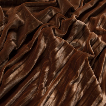 Adobe Brown Pleated Velour