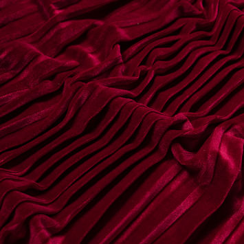 Deep Claret Pleated Velour