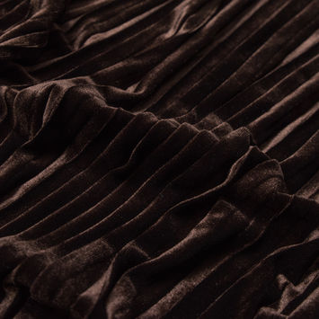 Chocolate Brown Pleated Velour