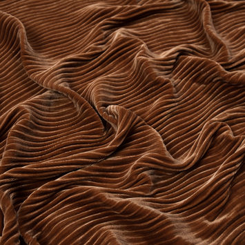 Adobe Brown Wavy Crinkled Velour