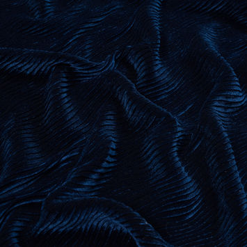 Estate Blue Wavy Crinkled Velour