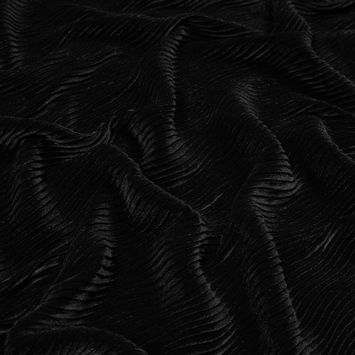 Black Wavy Crinkled Velour