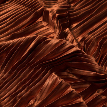 Burnt Orange Pleated Stretch Satin