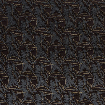 Italian Metallic Gold and Gray Flocked Brown Polyester Woven