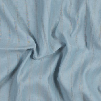 Powder Blue and Beige Striped Cotton and Viscose Voile