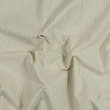 Green, Beige and Yellow Striped Cotton Seersucker