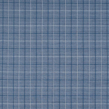 Blue and White Tattersall Window Pane Checkered Cotton Knit