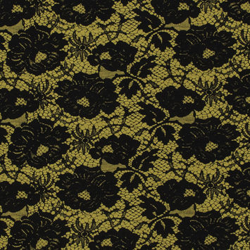 Milly Gamboge and Black Lace Printed Silk and Wool Twill