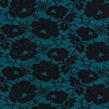 Milly Teal and Black Lace Printed Silk and Wool Twill