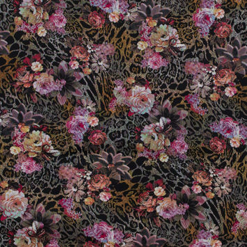 Italian Pink Jaguar and Floral Stretch Scuba Knit