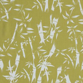 Lime Bamboo Tree Printed Linen Woven