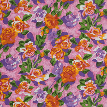 Pink and Orange Floral Printed Linen Woven