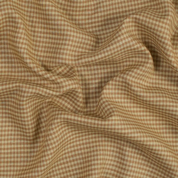 Yellow and Mustard Gingham Linen Woven