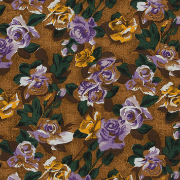 Purple and Mustard Floral Printed Linen Woven