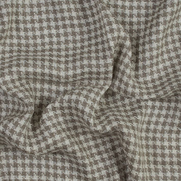 Beige and White Houndstooth Linen Tweed