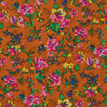 Orange and Pink Floral Printed Linen Woven