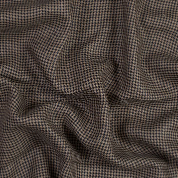Beige and Black Houndstooth Linen Woven