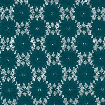 Teal Floral Corded Lace