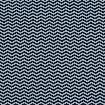 Navy and White Zig Zag Printed Cotton Jersey