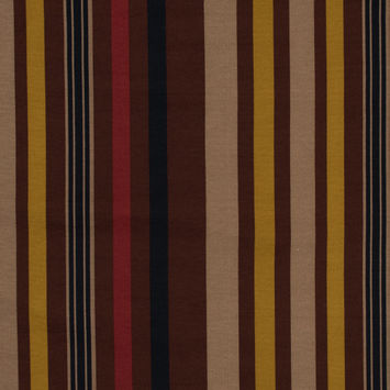Italian Mustard, Brown and Beige Barcode Striped Printed Jersey