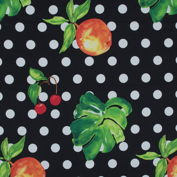 Cherry, Peach and Polka Dot Printed Stretch Cotton Shirting