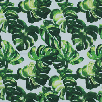 Green and White Leafy Stretch Cotton Shirting